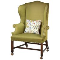 George III Mahogany Upholstered Wing Chair at 1stdibs