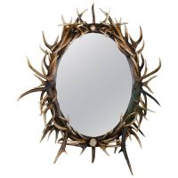 Late 20th Century Large Oval Antler Mirror For Sale at 1stdibs