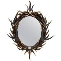 Late 20th Century Oval Dark Antler Horn Mirror at 1stdibs