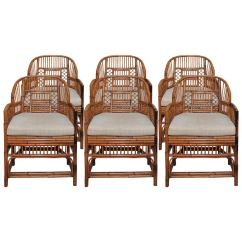 Bamboo Rattan Chair Side Tables Set Of Six Vintage And Chippendale Chairs At