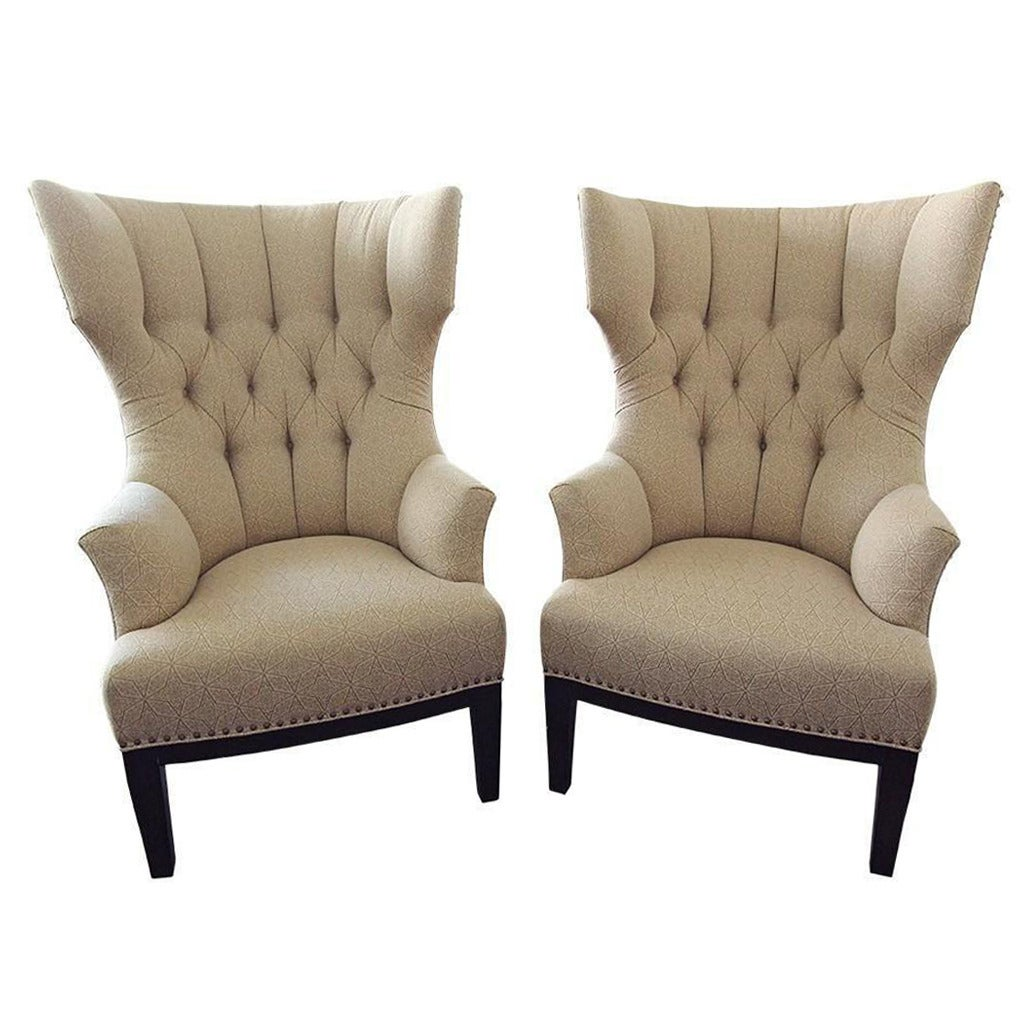 upholstered chair with nailhead trim blue sling patio pair of classic wingback chairs