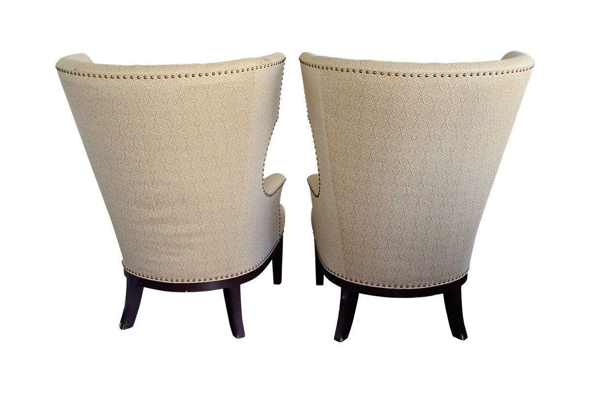 upholstered chair with nailhead trim small dining tables and chairs uk pair of classic wingback