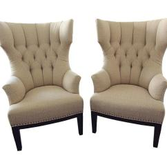 Upholstered Wingback Chair Pottery Barn Kid Pair Of Classic Chairs With Nailhead