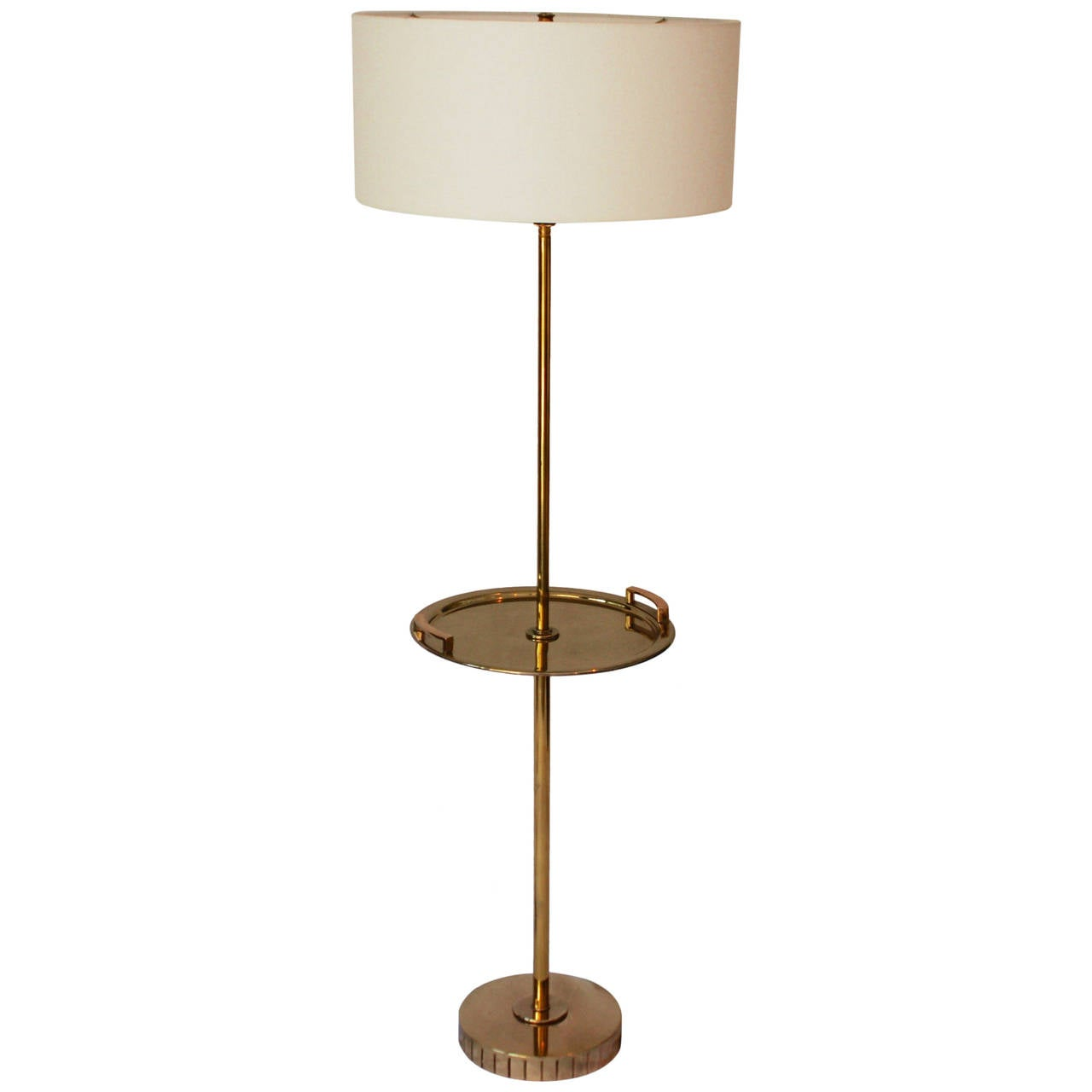 Brass Floor Standing Lamp with Brass Tray Table at 1stdibs