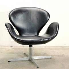 Arne Jacobsen Swan Chair Leg Covers For Chairs Original In Black Leather At 1stdibs