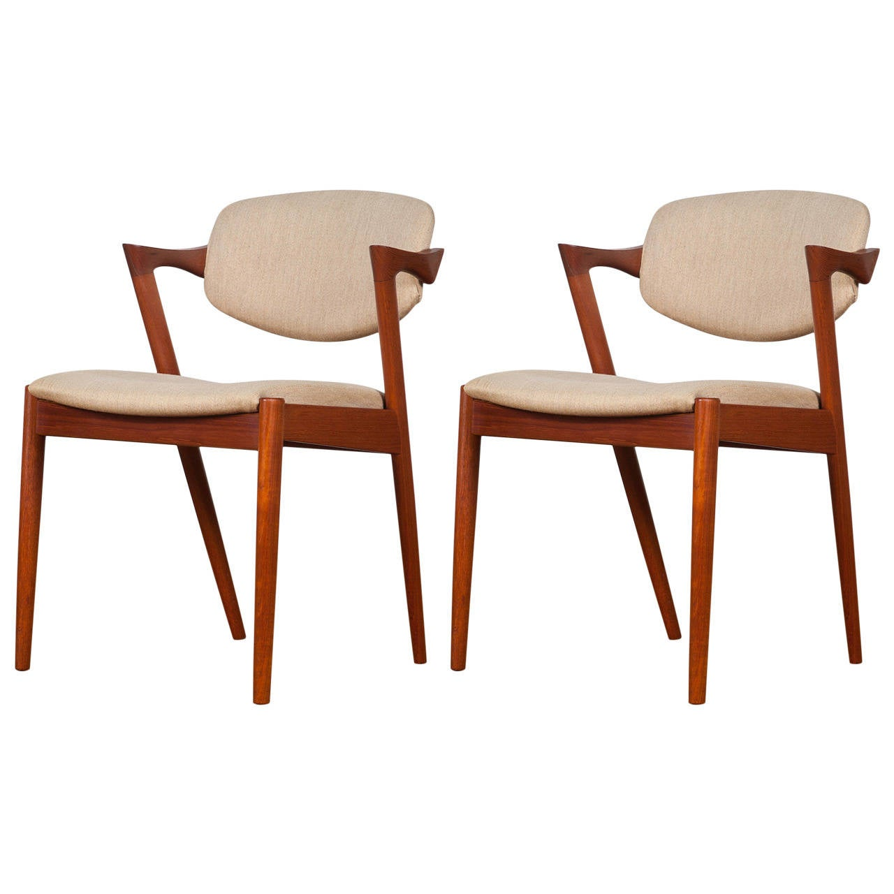 Danish Teak Dining Chairs Pair Of Mid Century Danish Model 42 Teak Dining Chairs By