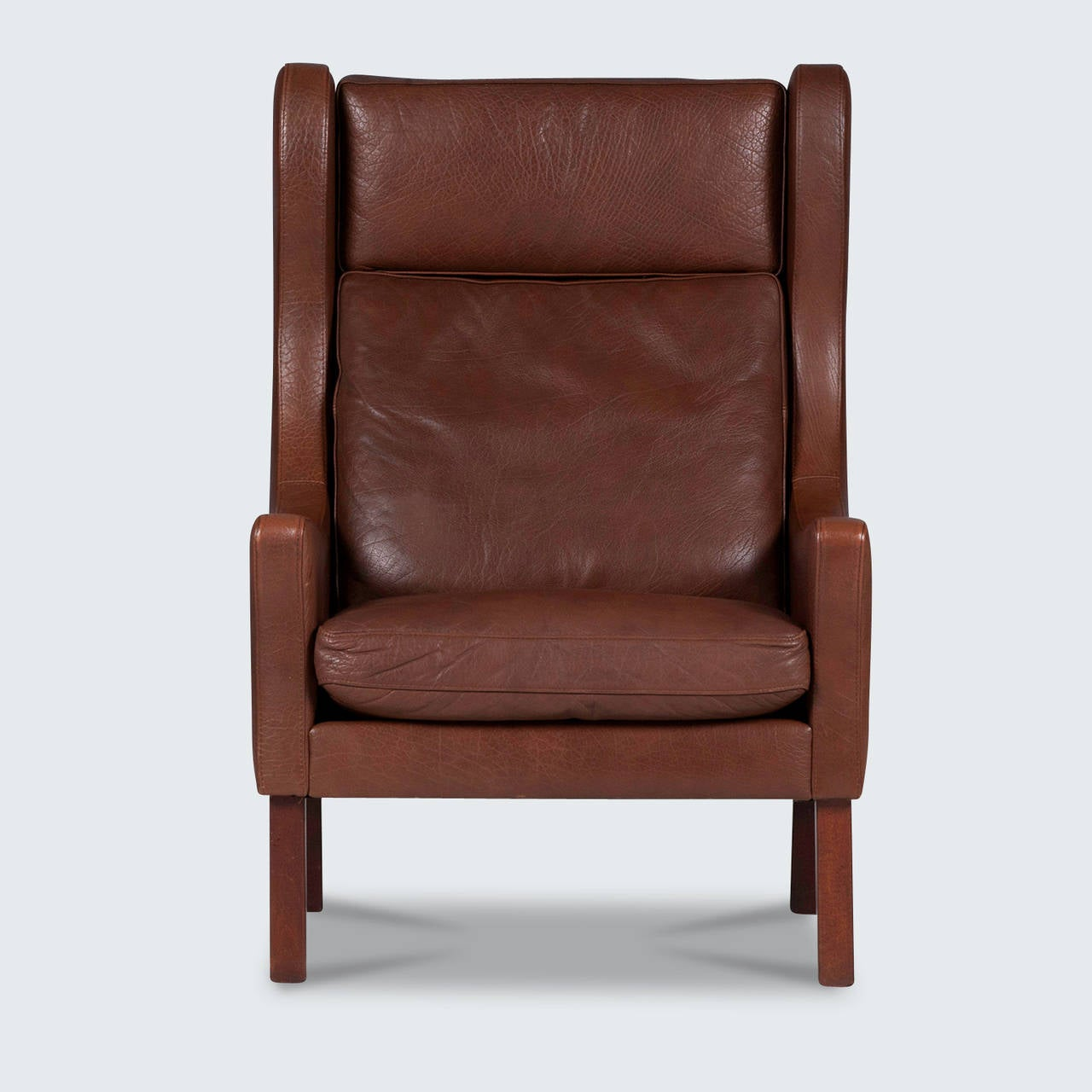 Leather Arm Chairs Vintage Danish Wingback Armchair In Dark Brown Leather