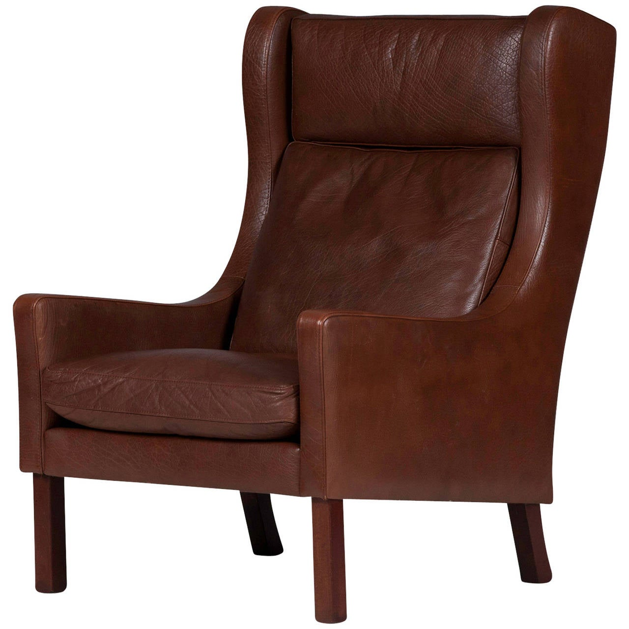 Brown Leather Wingback Chair Vintage Danish Wingback Armchair In Dark Brown Leather