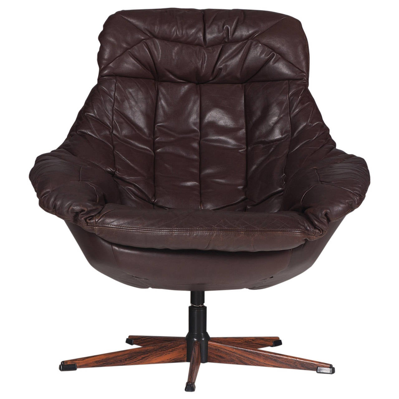 wh gunlocke chair stressless amazon danish brown leather swivel by h w klein 1970s at