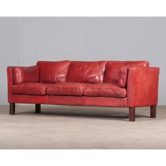 Cherry Red Leather Sofa Collapsible Table Danish Three Seater In By Arne