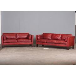 Cherry Red Leather Sofa Brands At Costco Danish Three Seater In By Arne