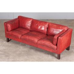 Cherry Red Leather Sofa Alstons Zurich Bed Danish Three Seater In By Arne