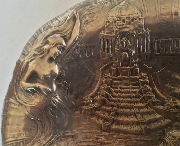 Silver Plate Tray Of Neptune And Mermaid World' Fair