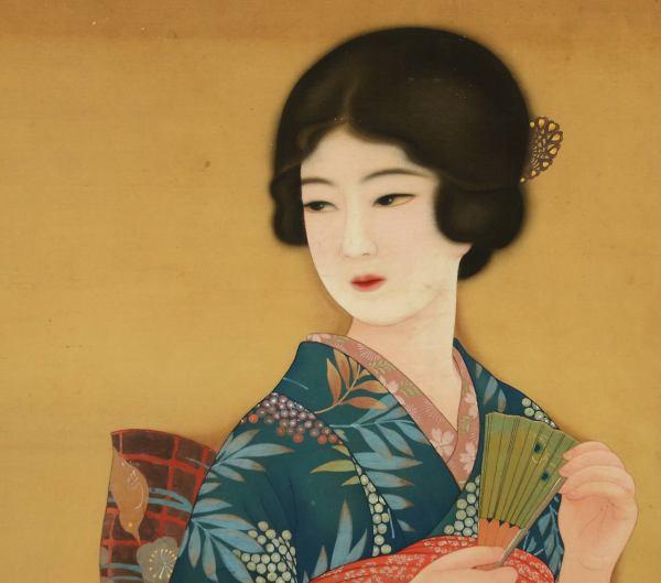 Japanese Bijin-ga Painting Of Woman In Period Kimono