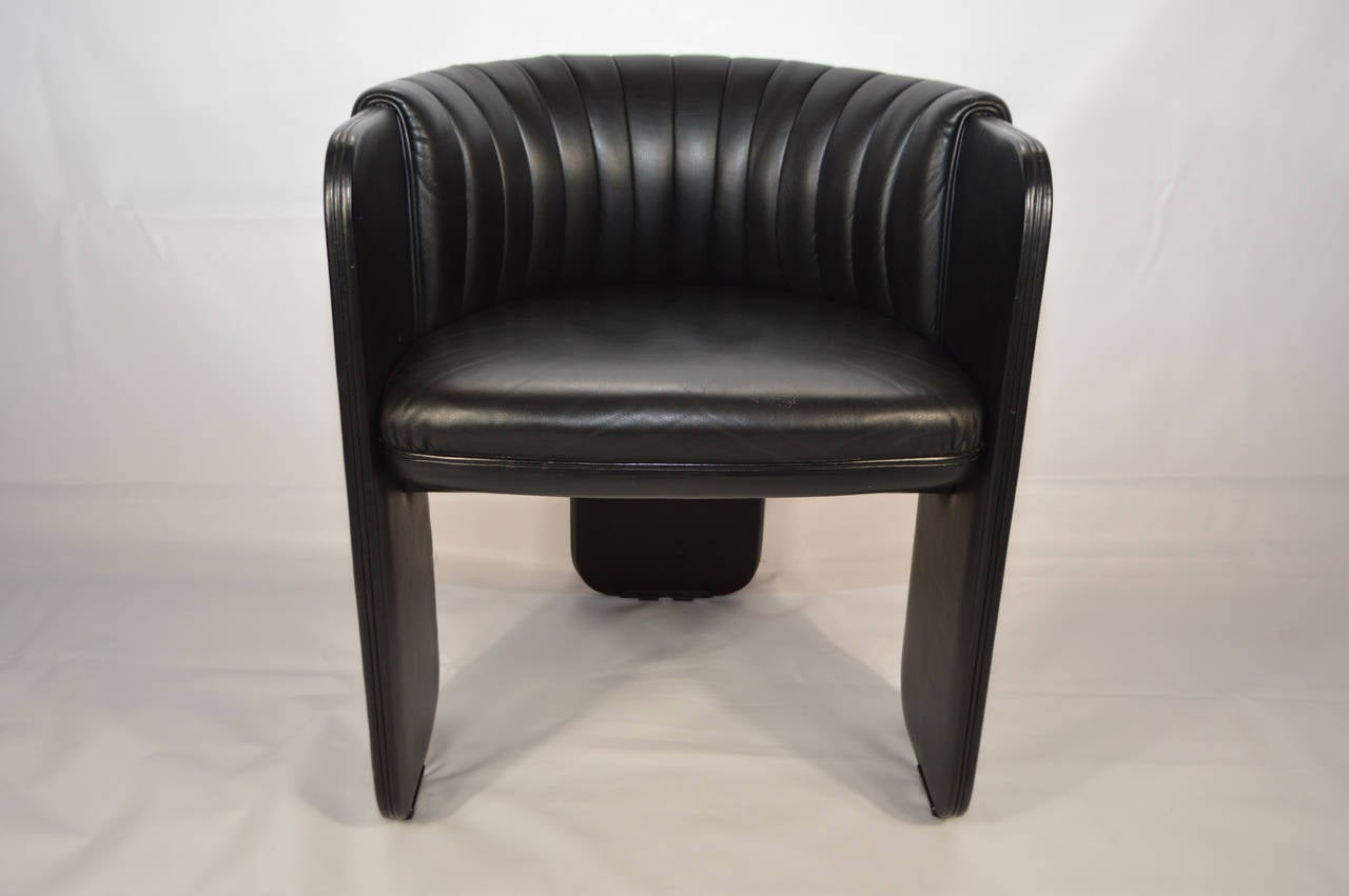black barrel chair bedroom hanger poltrona frau leather at 1stdibs