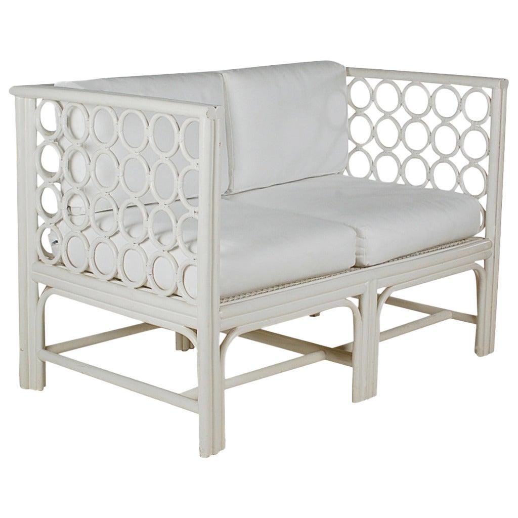 white wicker sofa for sale jual bed murah di jakarta mid century modern rattan settee at 1stdibs