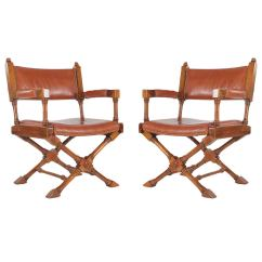 Leather Directors Chair Poker Tables And Chairs Vintage Campaign Or Director At 1stdibs
