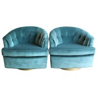 Pair of Luxurious Velvet Club Chairs on Brushed Brass ...
