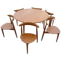 Chair And Matching Stool Revolving Hindi Meaning Hans J Wegner Heart Chairs Table Set At 1stdibs