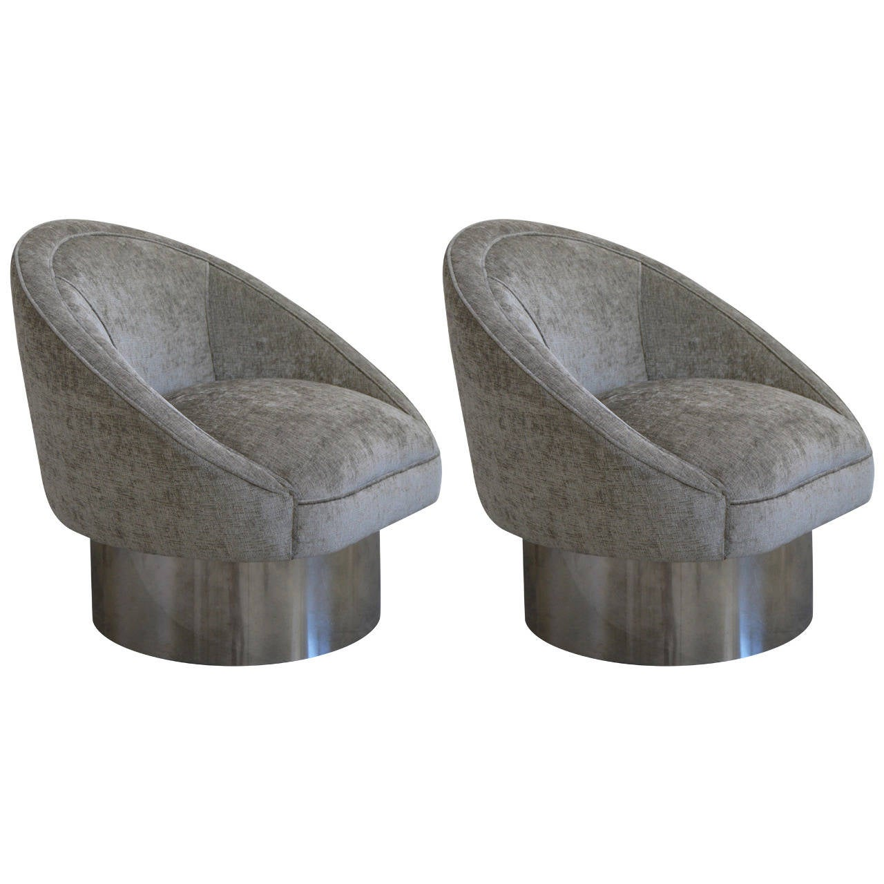 swivel chair leons hanging exercise pair of 360 degree chairs with polished steel leon
