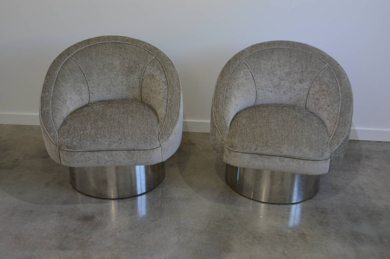 swivel chair leons canopy walmart pair of 360 degree chairs with polished steel leon