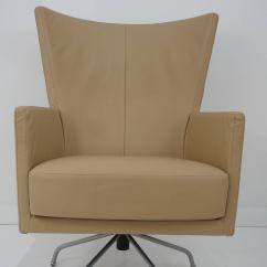 Modern Leather Swivel Lounge Chair Wooden Padded Folding Chairs Pair Of Italian Upholstered
