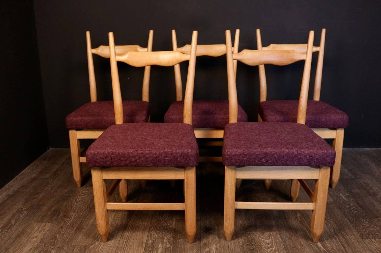 Five Chairs Set Of Five Chairs By Guillerme Et Chambron For Sale At