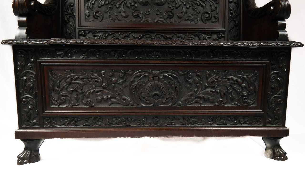 Hand Carved Hall Bench At 1stdibs