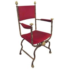 Hand Chairs Drive Medical Walker Transport Chair Wrought Iron And Cast Brass Savonarola At 1stdibs