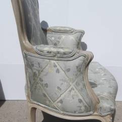 Leather Bergere Chair And Ottoman Nailhead French Carved Painted At 1stdibs