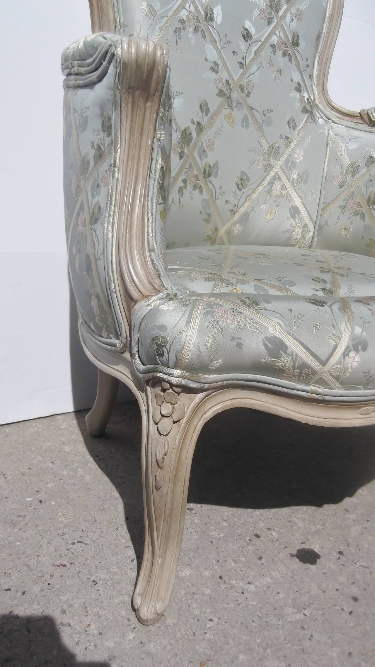 leather bergere chair and ottoman with arm table french carved painted at 1stdibs