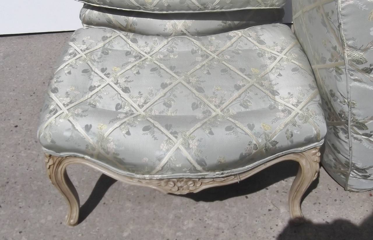 leather bergere chair and ottoman bedroom accent chairs french carved painted at 1stdibs