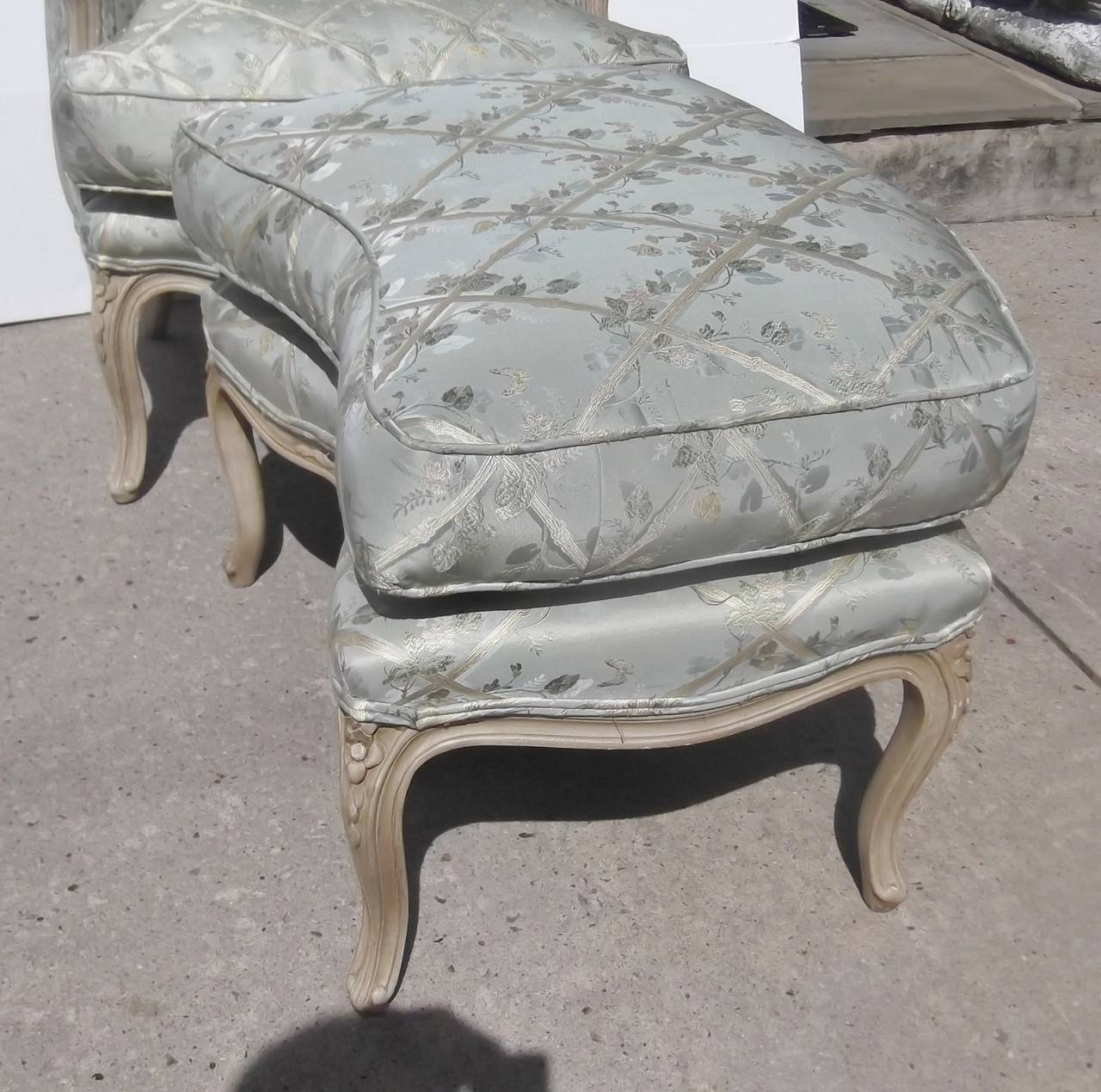 leather bergere chair and ottoman oversized sleeper french carved painted at 1stdibs