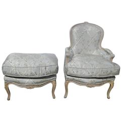 Leather Bergere Chair And Ottoman Chaise Lounge Outdoor French Carved Painted At 1stdibs