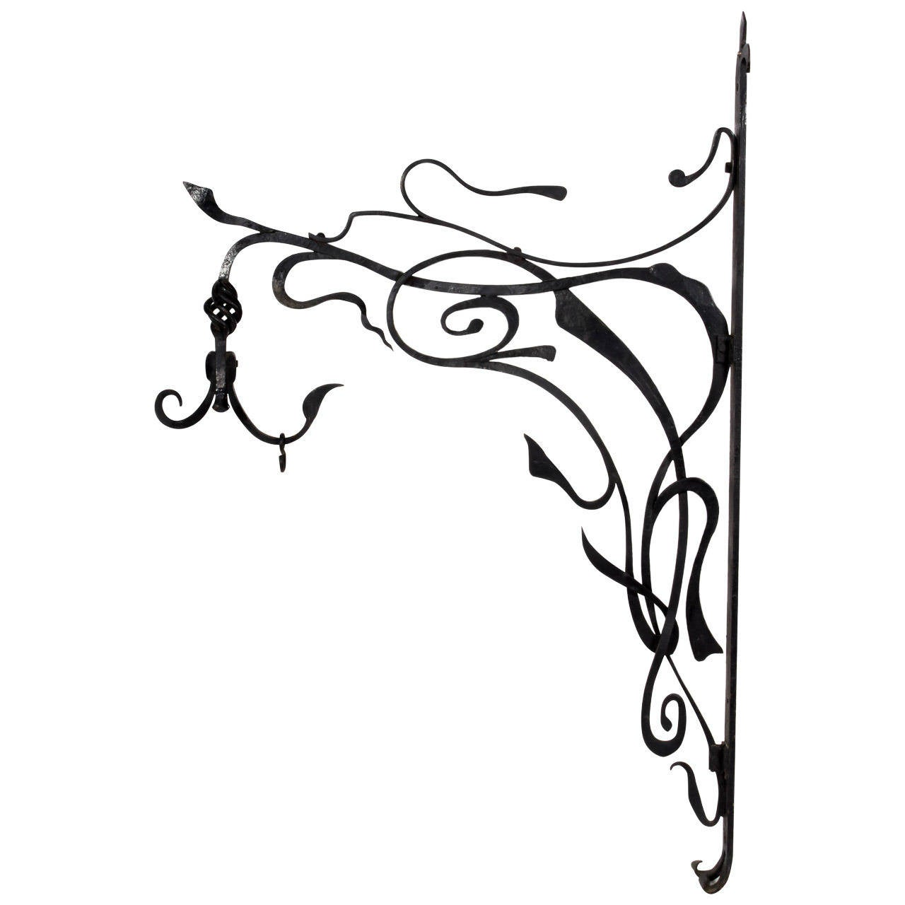 French Art Nouveau Style Wrought Iron Wall Bracket at 1stdibs