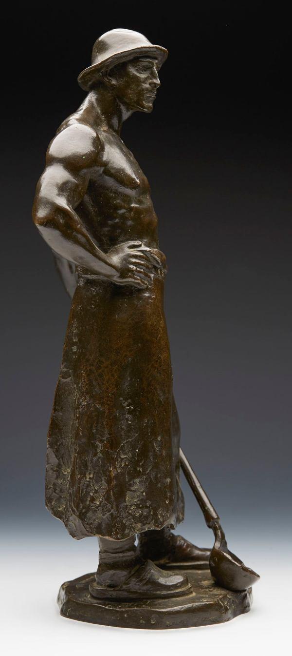 Vintage Bronze Sculpture Of Gold Smelter Richard