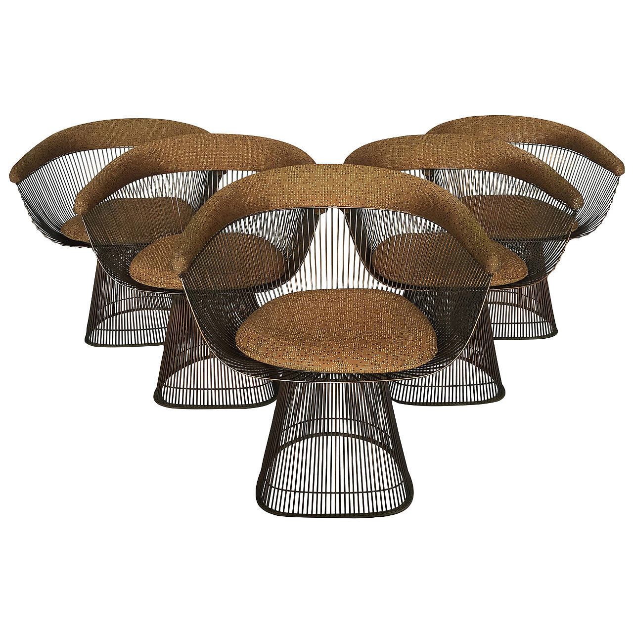 wire dining room chairs heated home warren platner bronze at 1stdibs