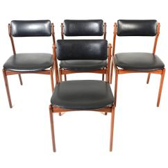 Erik Buck Chairs Black And White Gingham Chair Cushions Set Of Four Dining In Teak