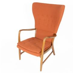Modern Wing Chair Bariatric Office Chairs Australia Danish Wingback Lounge In Terracotta At 1stdibs