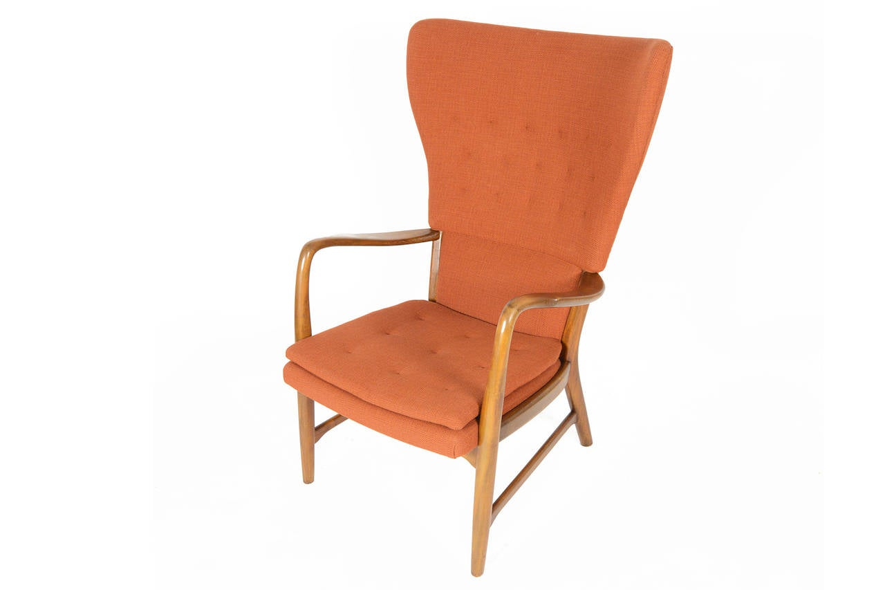 Modern Wing Chair Danish Modern Wingback Lounge Chair In Terracotta At 1stdibs