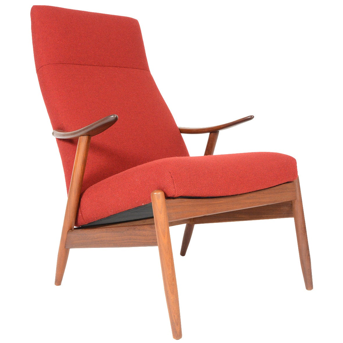 Modern Lounge Chairs Danish Modern Highback Teak Lounge Chair In Crimson At 1stdibs