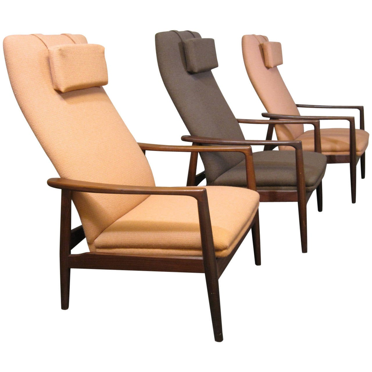 swedish leather recliner chairs white folding for sale scandinavian teak reclining lounge at 1stdibs