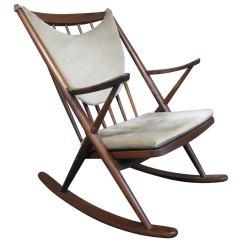 Danish Modern Rocking Chair Oversized Pillow Frank Reenskaug Teak For Bramin