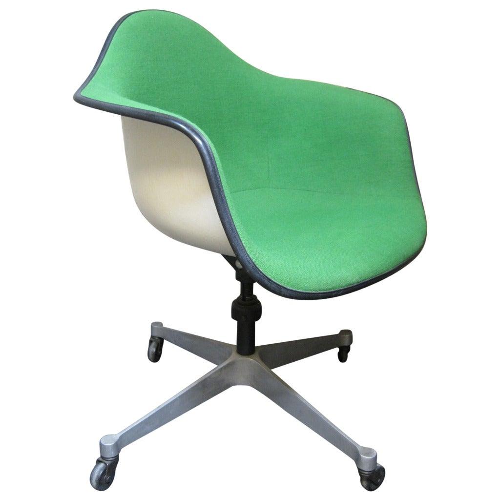 eames bucket chair fabric recliner herman miller swivel mid century