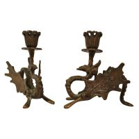 Art Deco Bronze Dragon Candle Holders at 1stdibs