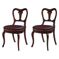 Duncan Phyfe Chairs Teak Wood Lounge Pair Of Restauration Lotus Carved Rosewood Side By