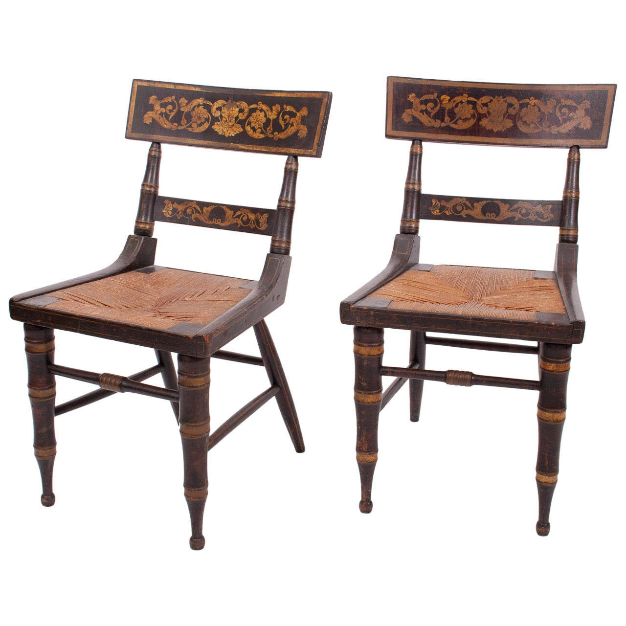 Klismos Chair Pair Of Faux Grained And Gilt Stencilled Klismos Chairs At