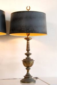 Pair of Stiffel Brass Lamps with Original Shades at 1stdibs