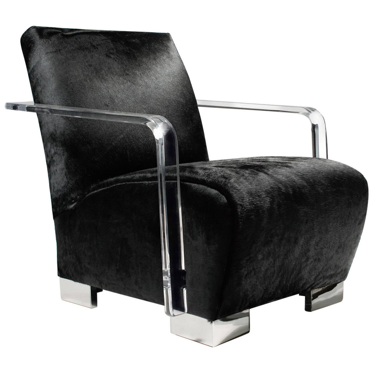 Cowhide Egg Chair Solid Black Cowhide Helena Chair With Acrylic Armrests At