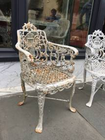 Pair Of English Cast Iron Garden Chairs Late 19th Century